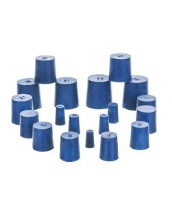 Neoprene stoppers, pk/10, bottom 17mm dia, top 20mm dia, height 26mm, solid