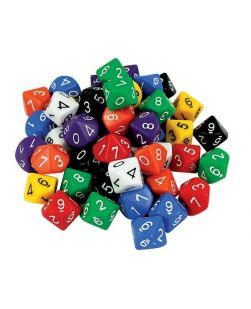 Ten face numbered dice, jar/60