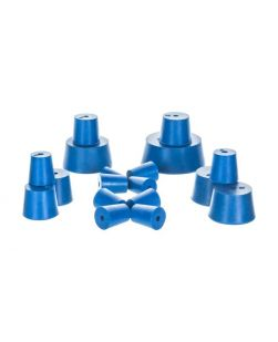 Neoprene stoppers, pk/10, bottom 21mm dia, top 24mm dia, height 28mm, 1 hole
