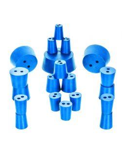 Neoprene stoppers, pk/10, bottom 19mm dia, top 22mm dia, height 28mm, 2 hole