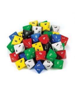 Eight face numbered dice, jar/60