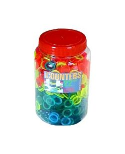 22mm counters in 4 translucent colours, jar & lid, pkt/1000