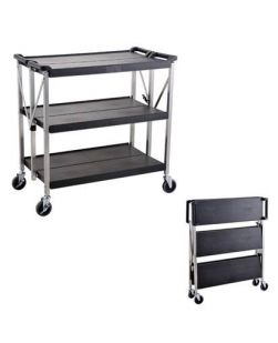 Lab trolley, 3 shelf, folding