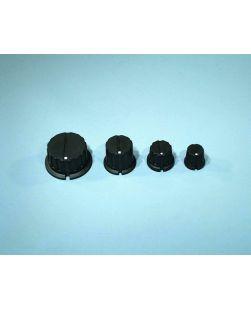 Knob, plastic, black, notched, 35 x 6mm (large)