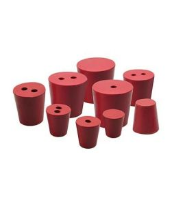 Rubber stoppers, pk/10, bottom 19mm dia, top 22mm dia, height 28mm