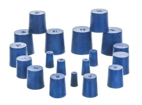 Neoprene stoppers, pk/10, bottom 13mm dia, top 16mm dia, height 24mm, solid