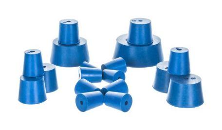 Neoprene stoppers, pk/10, bottom 23mm dia, top 26mm dia, height 28mm, 1 hole