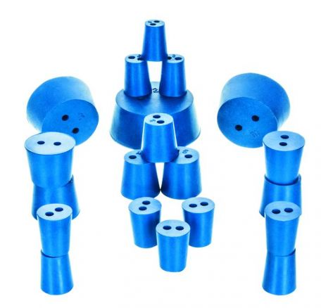 Neoprene stoppers, pk/10, bottom 18mm dia, top 21mm dia, height 26mm, 2 hole