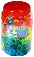 22mm counters in 10 colours, jar & lid