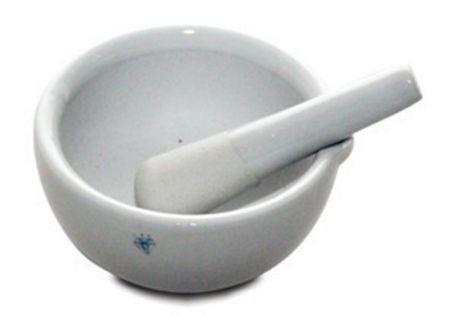 Mortar & pestle, porcelain,  100mm d.