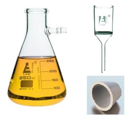 Vacuum filtration, buchner funnel, glass, 500ml Schott flask