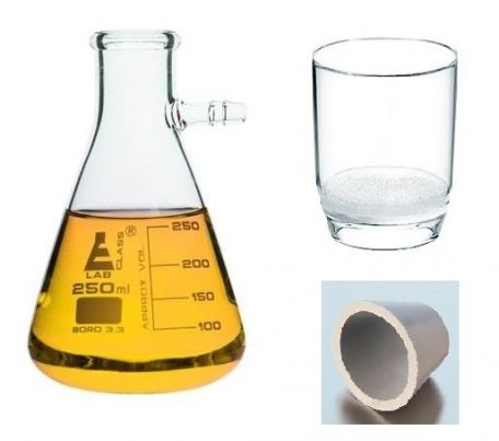 Vacuum filtration, glass crucible, Por 3, 1000ml flask