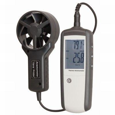 Wind speed meter/thermometer, deluxe (handheld)