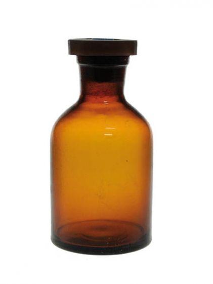 Reagent bottle, amber glass, 250ml, polystopper, N/M