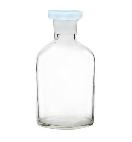 Reagent bottle, clear glass,  125ml,with polystopper.