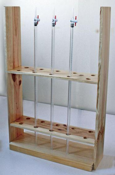 Burette rack, bench mounted