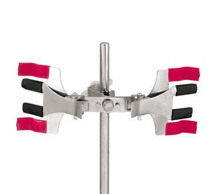 Burette clamp, pressed metal, double