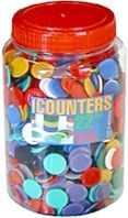 Counters, 22mm dia. in 10 solid colours, jar & lid, pkt/1000