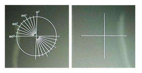 Polaroid filters,  circular scale, 100 x 100mm sq. pair