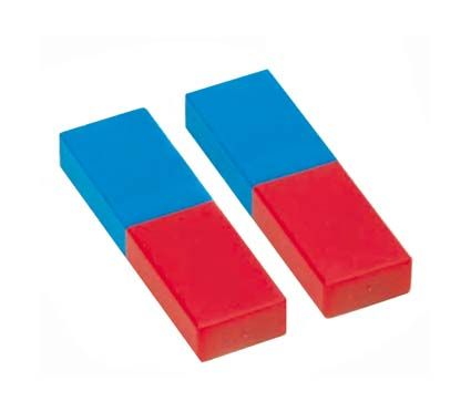 Bar magnets, plastic cased, pair