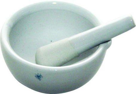 Mortar & pestle, porcelain,  130mm d.