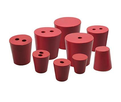 Rubber stoppers, pk/10, bottom 21mm dia, top 24mm dia, height 28mm, 1 hole