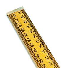 Ruler, metre, wooden, brass ends