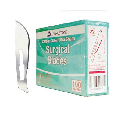 Scalpel blades, No. 22 long, curved, pkt/100