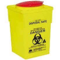 Sharps container, 2L, square, yellow