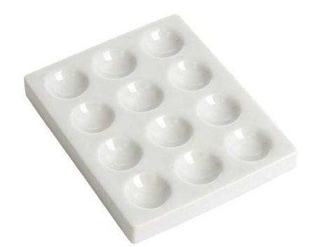 Spotting tile, 12 depression PVC plastic white