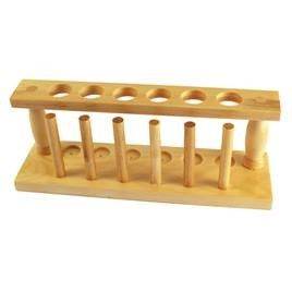 Test Tube Rack, Wooden, 6 holes/6 pegs, 6 x 27mm holes