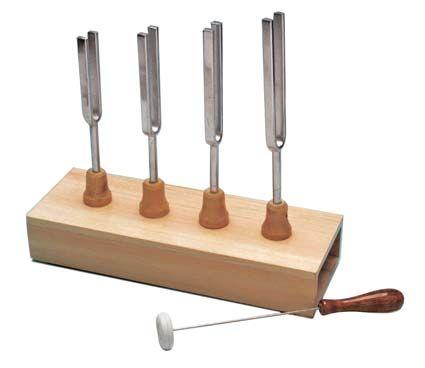 Tuning fork, set/4, on resonance box