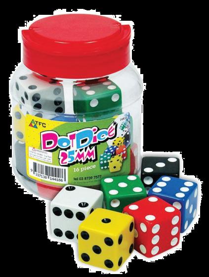 Dice, six sided, dot, 25mm, jar/40