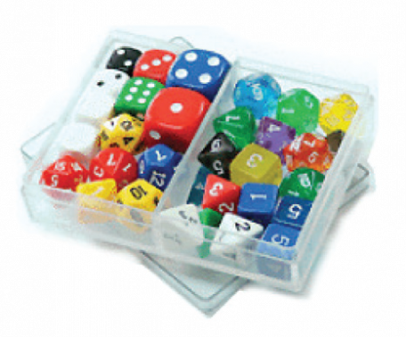 Mixed dice, 2 each of 16 kinds, opaque & crystal (box/32)