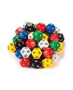 Twelve face numbered dice, jar/40