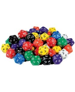Twenty face numbered dice, jar/50