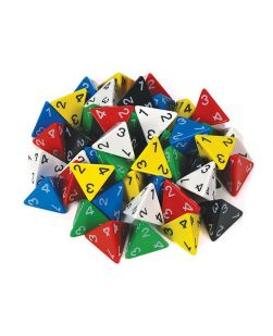 Four face numbered dice, jar/60