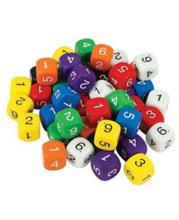 Six face numbered dice, jar/60
