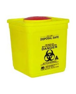 Sharps container, square, yellow